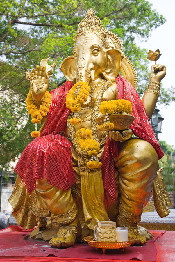 Golden statue of Ganesha royalty free stock photography