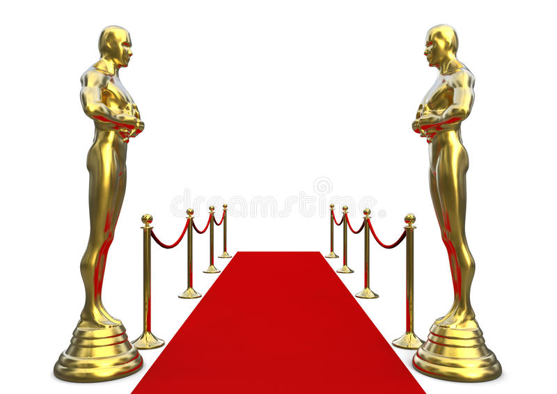 Golden statue with red carpet royalty free illustration
