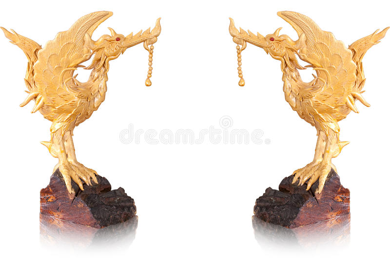Golden statue swan on isolate background stock photo