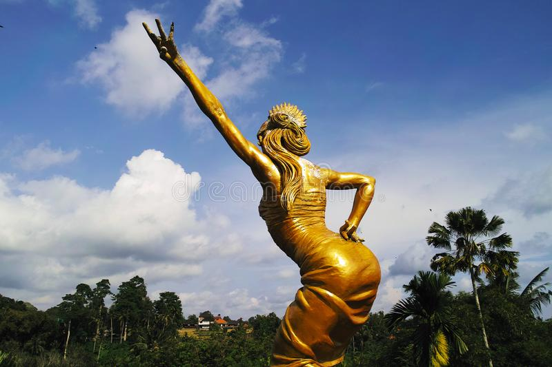Golden Statues in Blanco Renaissance Museum. Indonesia, Bali, Ubud - Sep, 2014 : Golden Statues in Blanco Renaissance Museum royalty free stock photography
