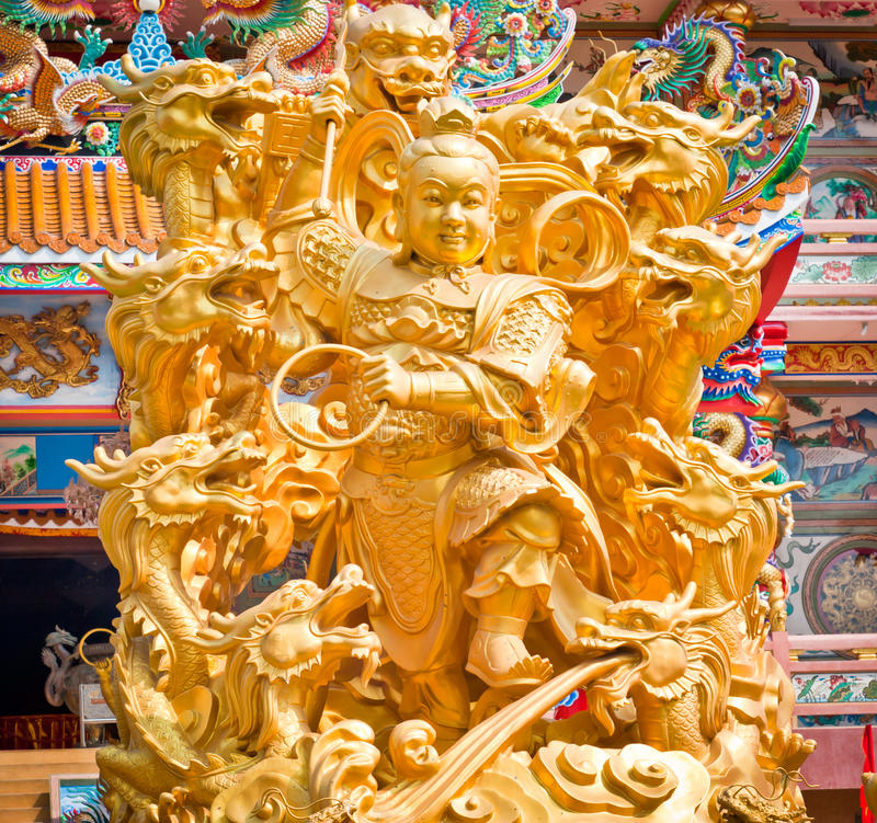 Golden statues of gods. Golden statues of Chinese gods stock photography