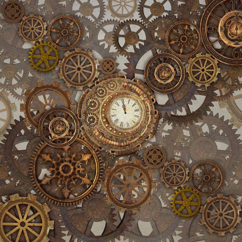 Steampunk clockwork with golden cogwheels. Golden steampunk background with lots of cogwheels – 3D illustration vector illustration