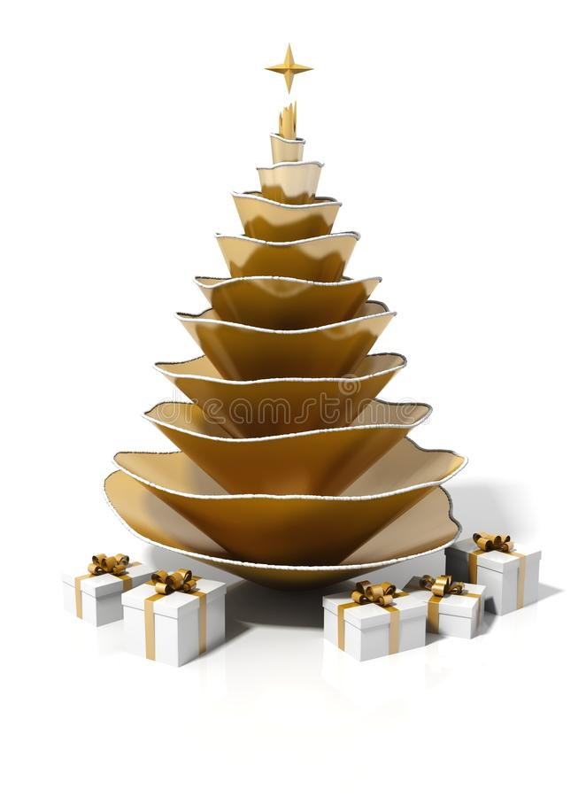 Golden steel christmas tree stock illustration