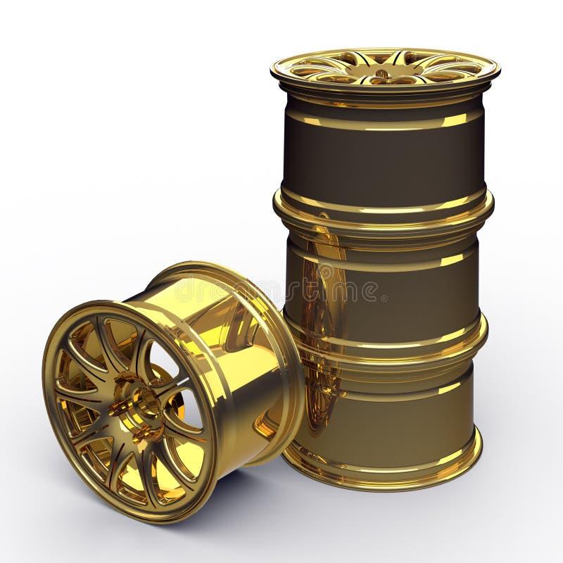 Golden steel disks for a car 3D illustration royalty free stock photo