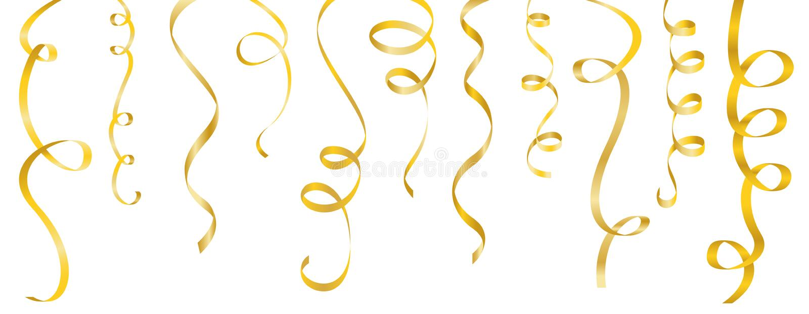streamers gold vector set royalty free illustration
