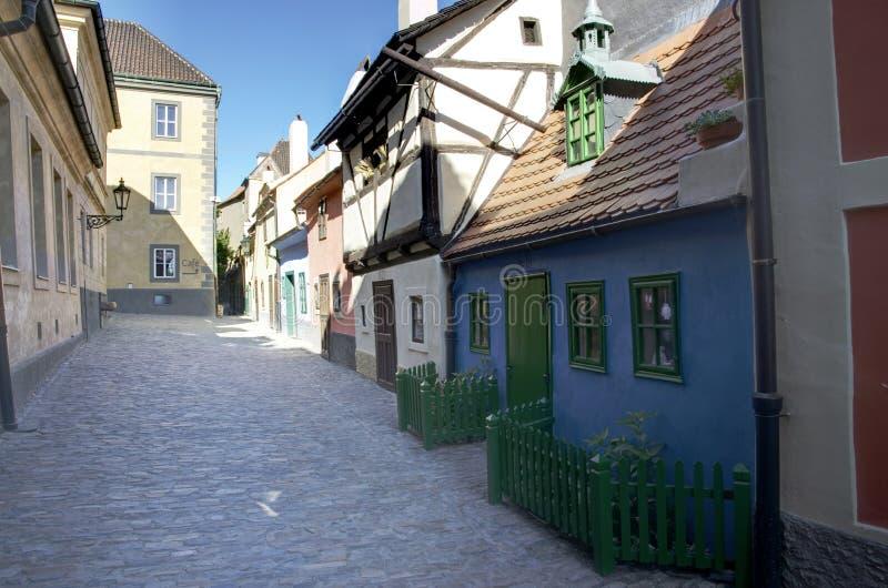 Golden lane in Prague stock photos