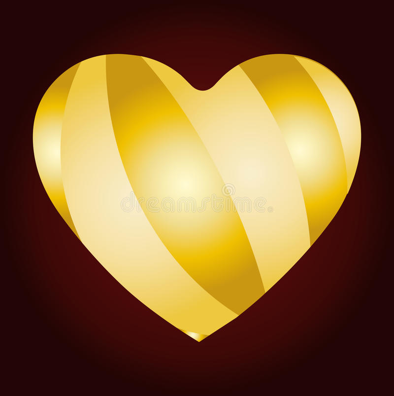 Golden strip on heart royalty free stock images