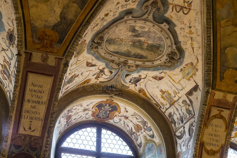 Golden stucco decoration of the interior of the museum residence Munich Residenz, the Bavarian kings. stock images
