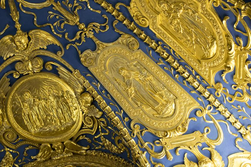 Golden stucco decoration of the interior of the museum residence Munich Residenz, the Bavarian kings. MUNICH, GERMANY - NOVEMBER 27, 2018 :Golden stucco stock photo