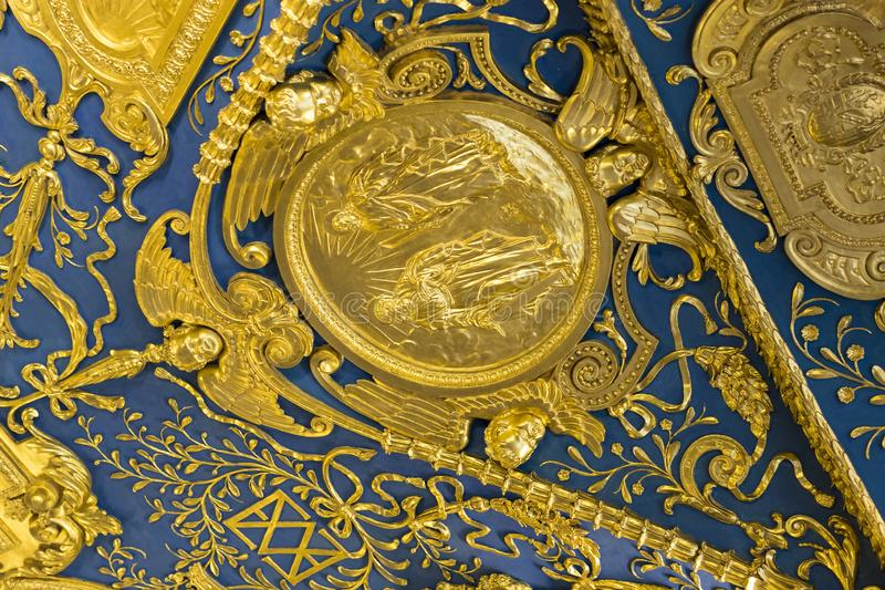 Golden stucco decoration of the interior of the museum residence Munich Residenz, the Bavarian kings. MUNICH, GERMANY - NOVEMBER 27, 2018 :Golden stucco royalty free stock photo