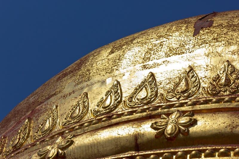 Golden stupa of Dhamma Ya Zi Ka Pagoda, Myanmar. Pure golden stupa of the Dhamma Ya Zi Ka Pagoda is one of the hundreds of temples in the UNESCO world heritage royalty free stock photography
