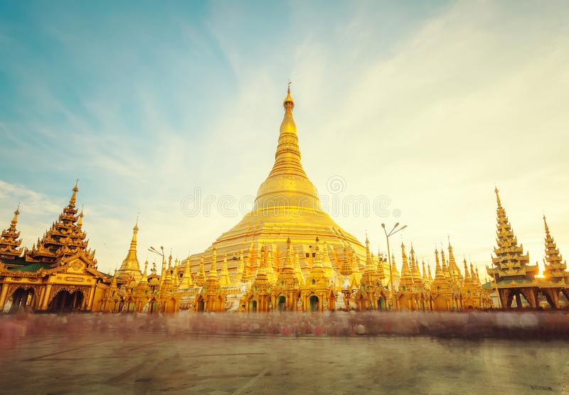 The golden stupa of the Shwedagon Pagoda Yangon Rangoon, Landm stock photography