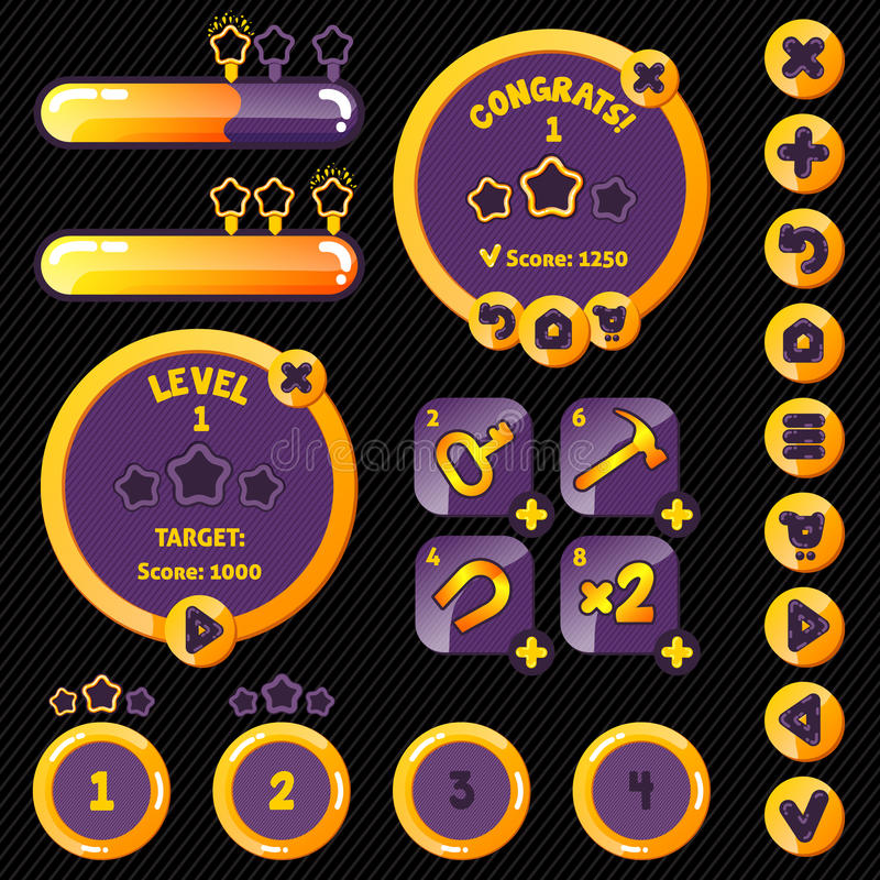 Golden stylish game interface woth level. Completion. boosters, buttons and loading pannel stock illustration
