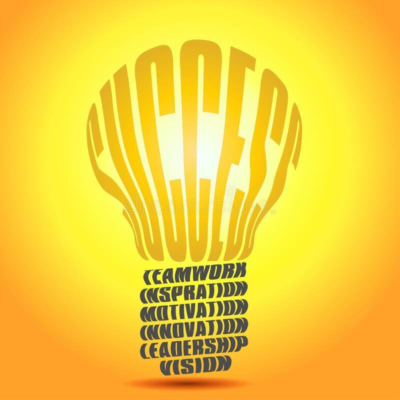 Golden Success word bulb vector illustration