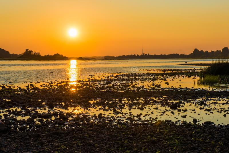 Summer sunset over the Daugava river, Riga Latvia royalty free stock images