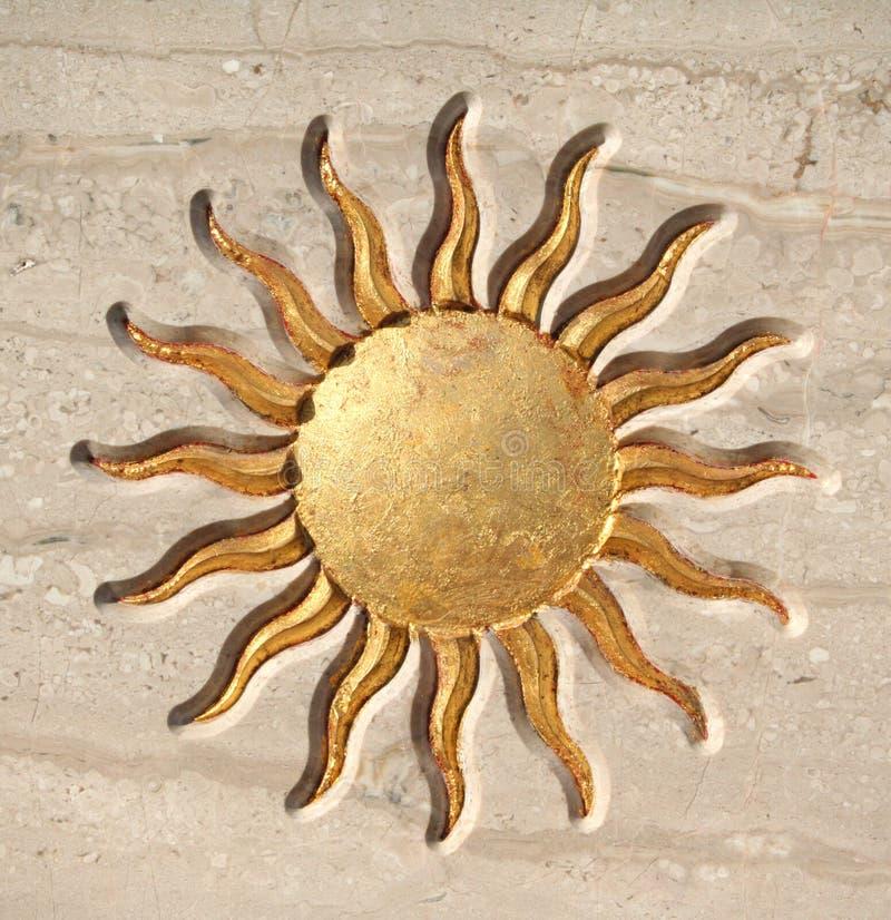 Golden sun button royalty free stock photo