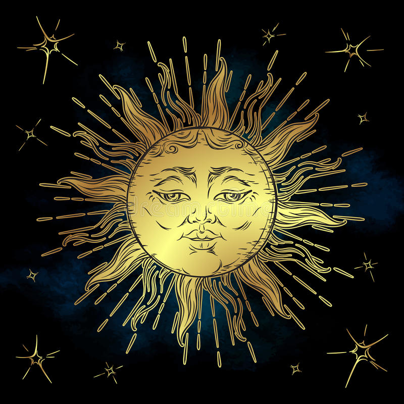 Golden sun and stars vector illustration. Hand drawn boho style fabric design, astrology, alchemy, magic symbol. Golden sun and stars vector illustration. Hand royalty free illustration