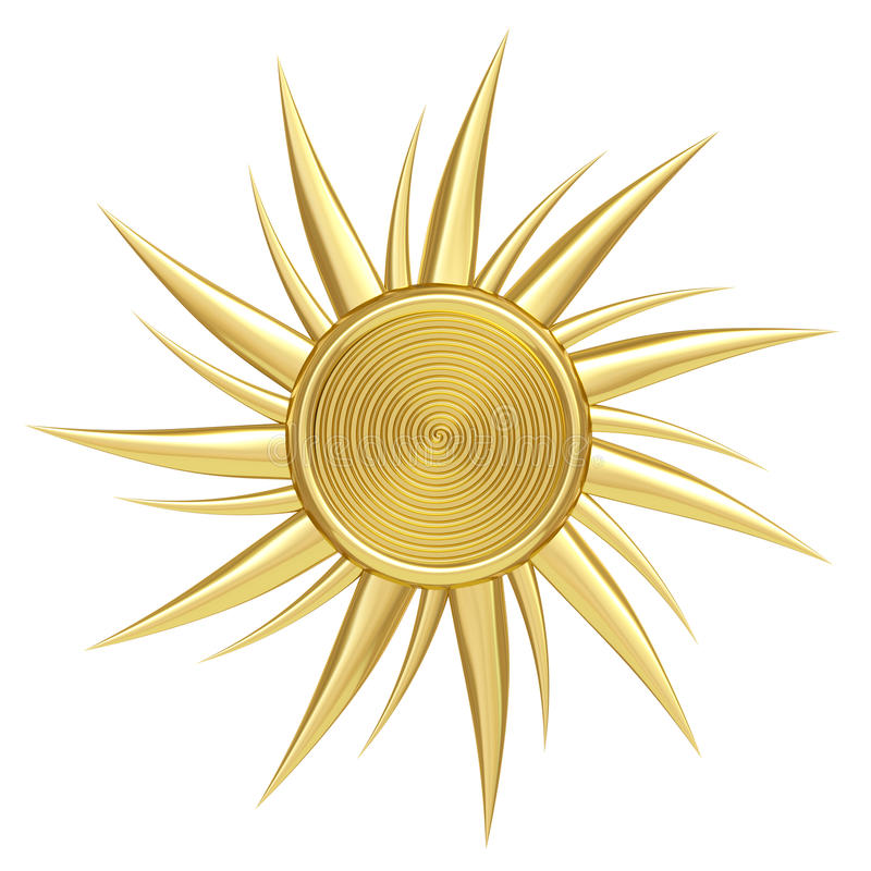 Free Golden Sun Symbol Isolated On White Stock Photography - 26284762