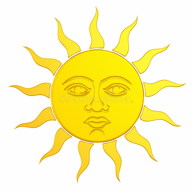 Free Golden Sun With Face. 3d Royalty Free Stock Images - 43282019