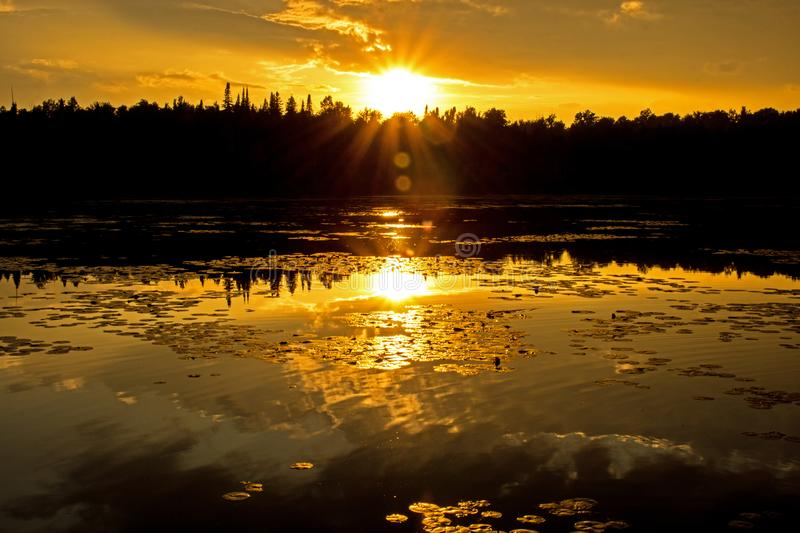 Golden Sunburst Over The Trees At Sunset. The sun gets in a last defiant burst of light before setting for the evening over the mill pond at Hillsburgh, Ontario stock image