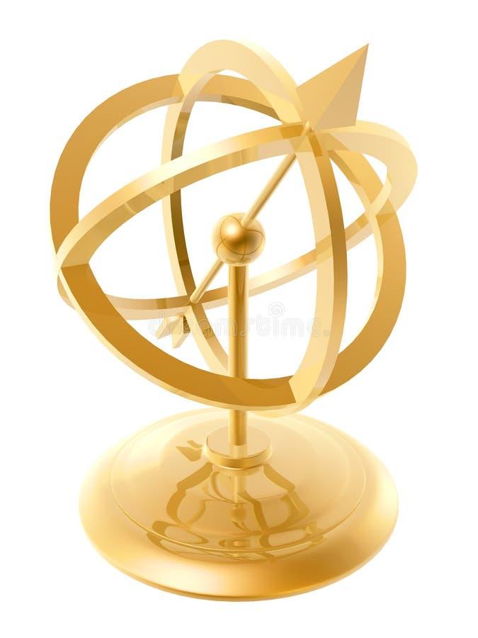 Golden sundial royalty free illustration