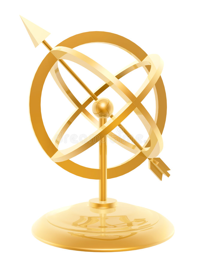 Golden sundial stock illustration
