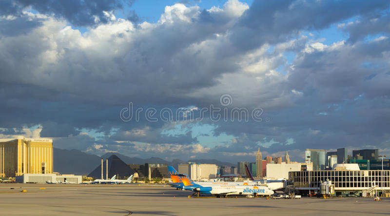 Golden sunlight in early morning at airport in Las Vegas stock images