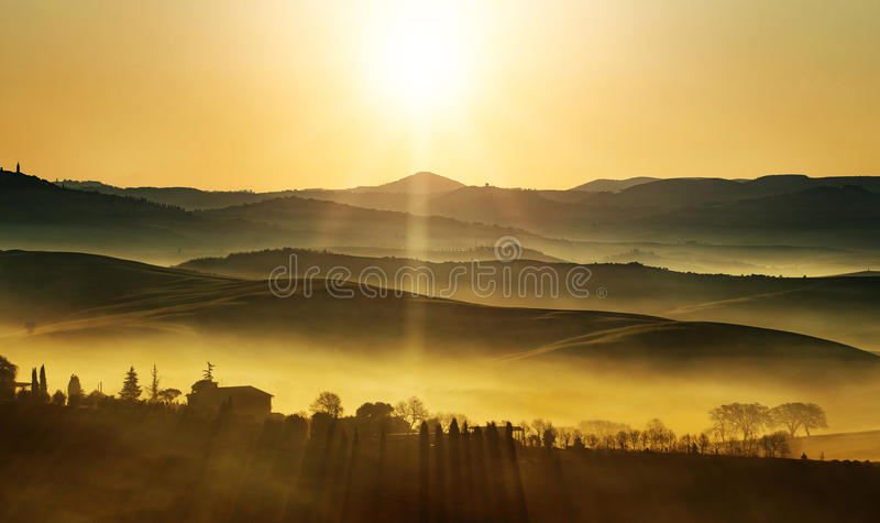 Golden sunrise on the hills royalty free stock images