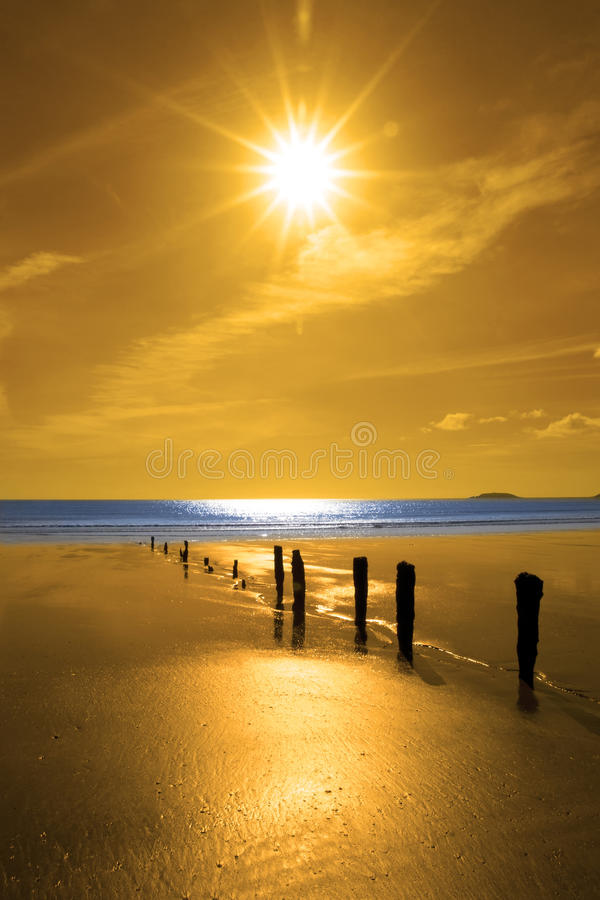 Download Golden Sunrise Over The Beach And Breakers Stock Photo - Image: 28529770