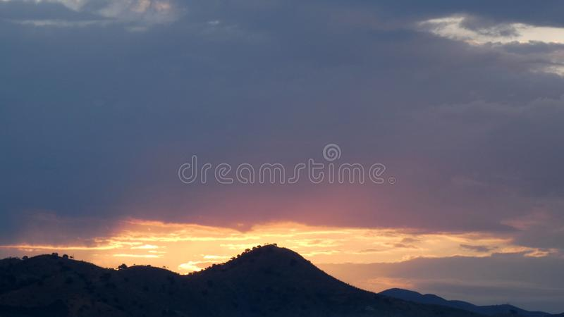 Golden sunrise over hills in Spain royalty free stock photography