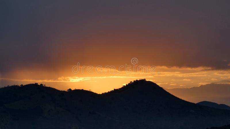 Golden sunrise over hills in Spain royalty free stock image