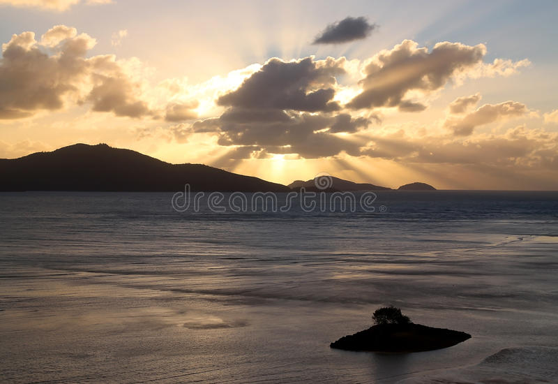 Download Golden Sunrise Over The Tropical Islands Stock Photo - Image of clouds, distance: 40336006