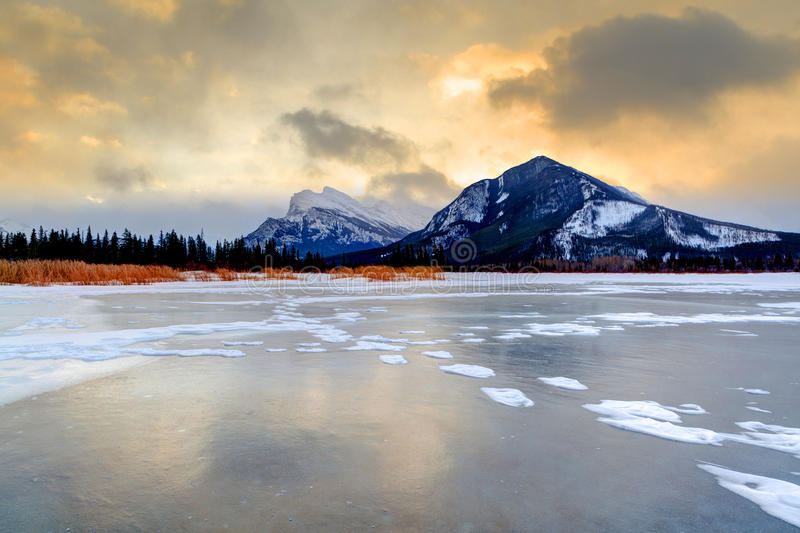 Download Golden Sunrise Over Vermilion Lakes, Banff National Park Stock Image - Image of range, cloudy: 37973873