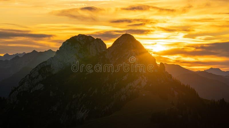 Golden sunrise on Ross- and Buchstein stock image