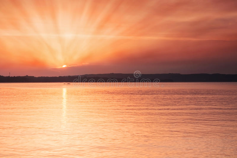 Golden sunset on beach royalty free stock image