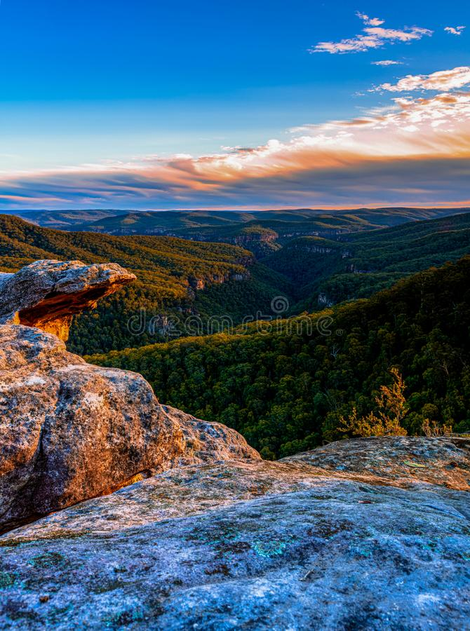 Golden sunset at Bonnie view lookout NSW Australia. Golden sunset view of Bonnie View lookout in Morton national park Bundanoon located in the Southern Highlands royalty free stock photos