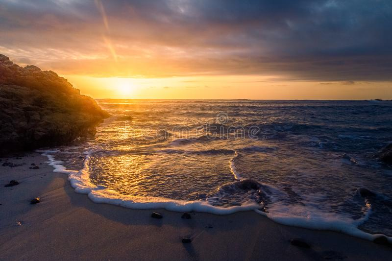Golden sunset in Costa Rica stock images
