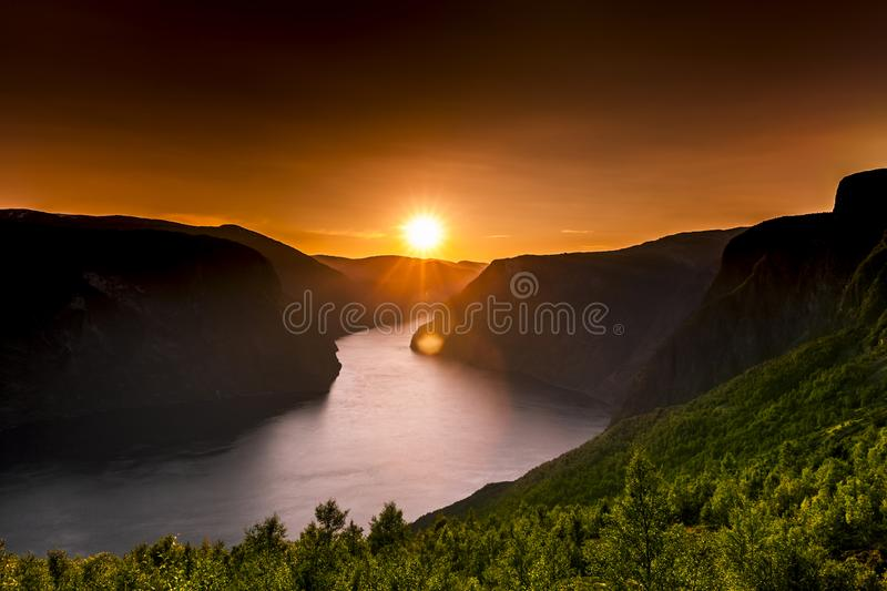 Golden Sunset at a Fjord stock photography