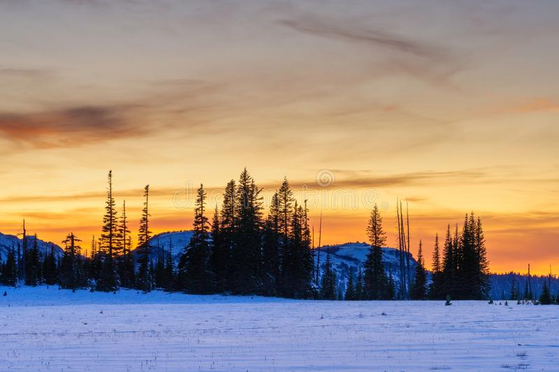 Sunset Over Redstone Peak After Early Snowfall From Grand Park, Mount Rainier National Park. Golden Sunset Looking West From Snow Covered Grand Park, Mount royalty free stock photography