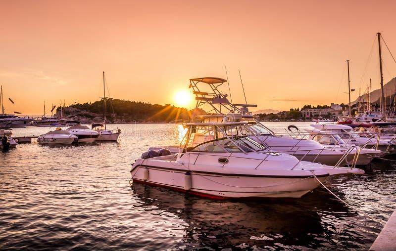 Golden sunset in Makarska, Croatia stock photo