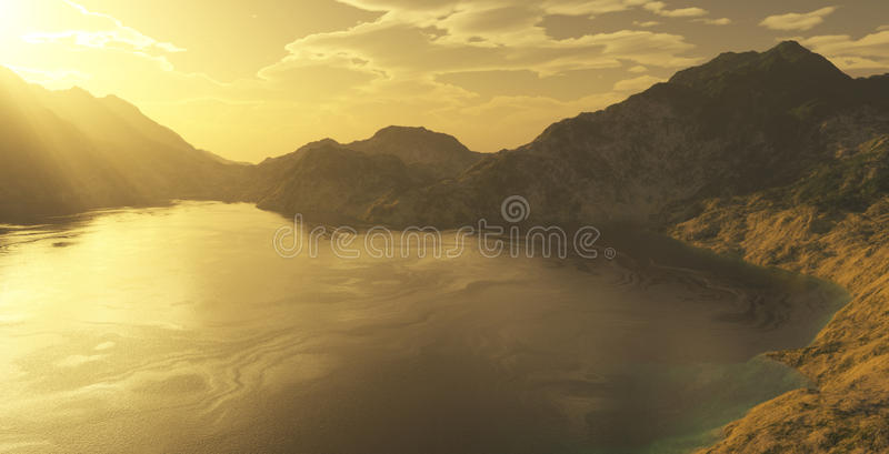 Golden sunset over a lake royalty free illustration