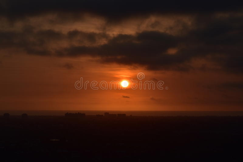 The Golden Sunset. This photo was taken at Baldwin Hills Scenic Overlook in Los Angeles, California royalty free stock image