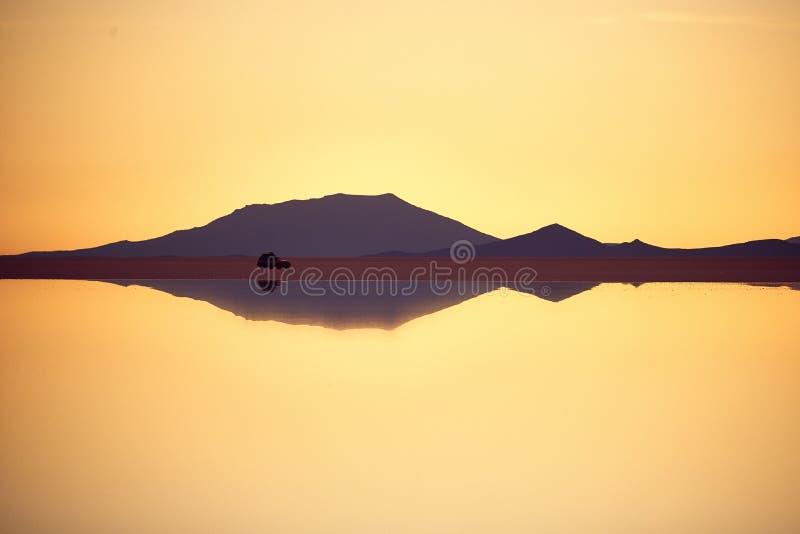 Golden Sunset in salar Uyuni royalty free stock photo
