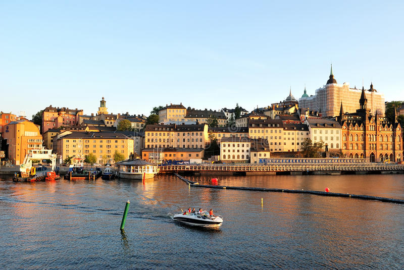 Golden sunset in Stockholm royalty free stock images