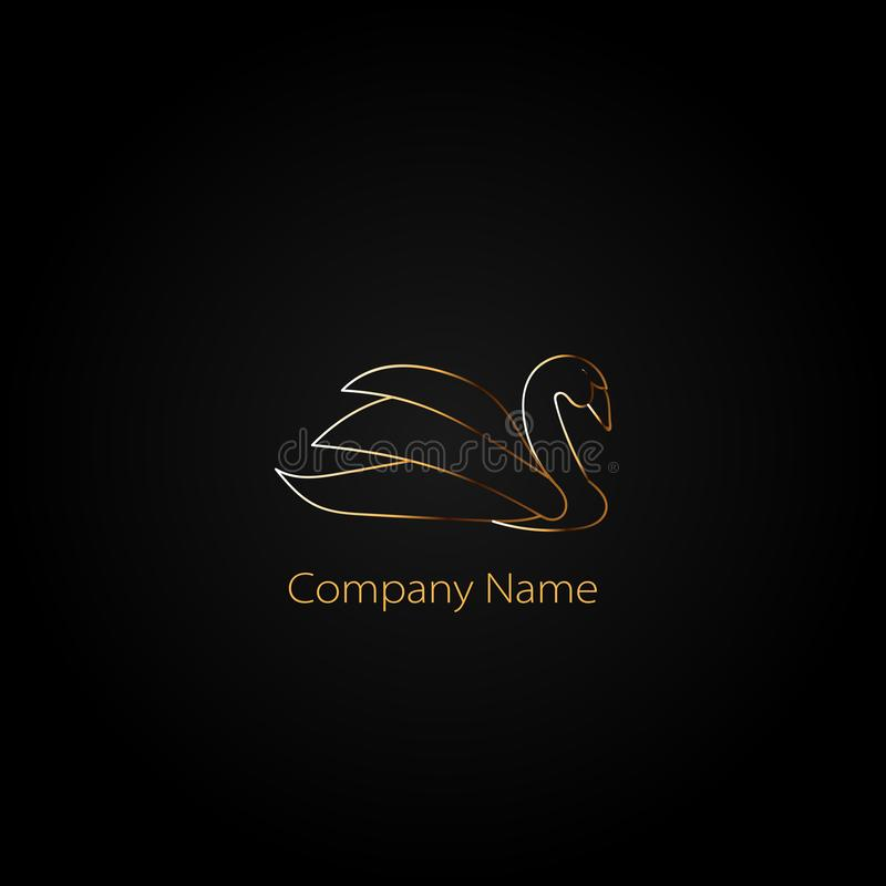 Golden Swan logo template. Logo for your business. royalty free illustration