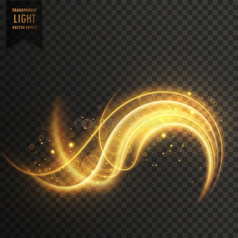 golden swirl transparent white light effect background vector illustration