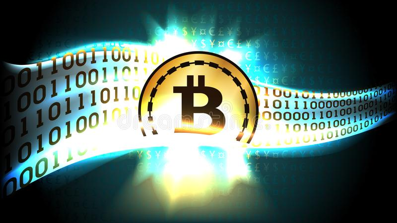 Golden symbol of cryptocurrency bitcoin exchanges currency signs for binary code. Well organized layers stock illustration