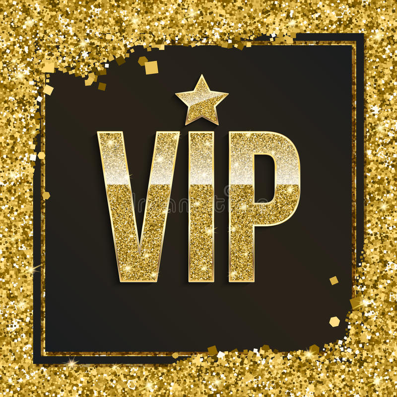 Golden Symbol Of Exclusivity, The Label VIP With Glitter ...