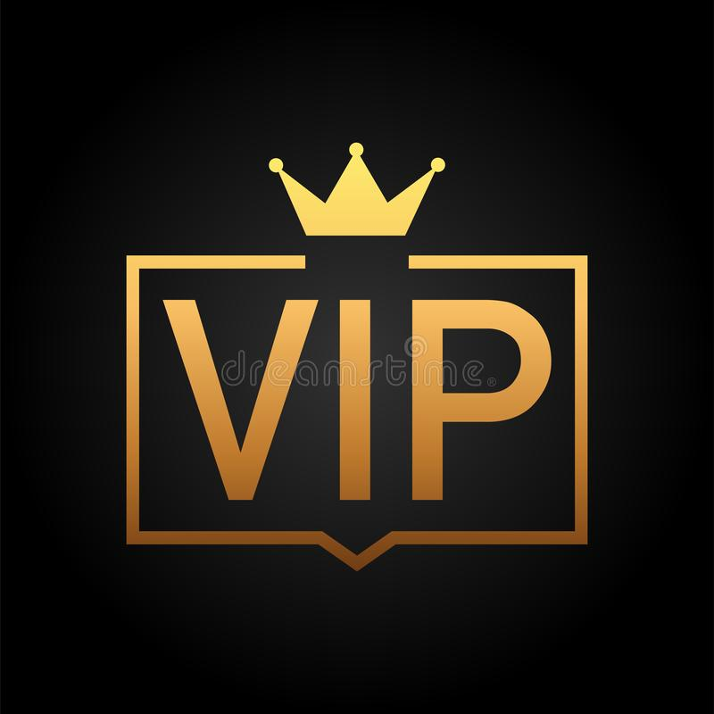 Golden symbol of exclusivity, the label VIP with glitter. Very important person. VIP icon on dark background Sign of exclusivity with bright, Golden glow royalty free illustration