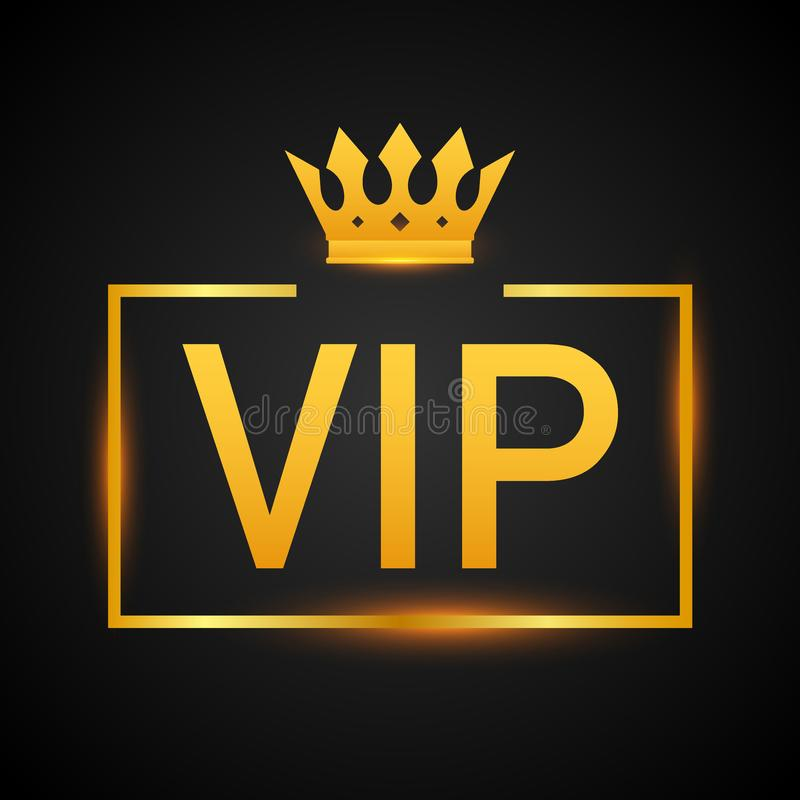 Golden symbol of exclusivity, the label VIP with glitter. Very important person - VIP icon on dark background Sign of exclusivity. With bright, Golden glow stock illustration